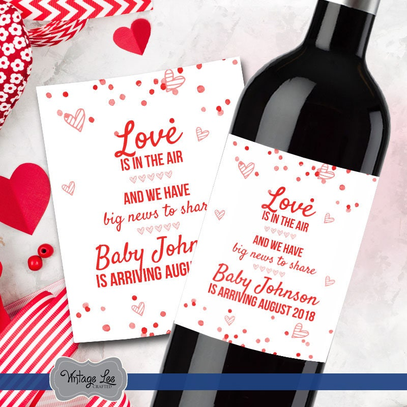 valentines day pregnancy announcement pregnancy reveal to grandparents pregnancy reveal wine label valentine baby announcement label