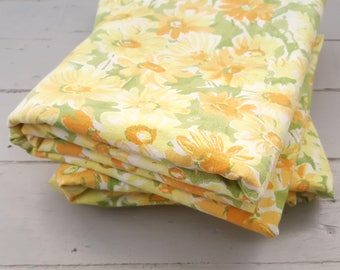2 Vintage Flat Sheets Single Twin Cotton Used Excellent Yellow