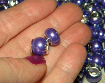 NEW  50/pc PURPLE  European bead lot, mixed size 11mm-12mm large hole  Spacer Charm beads ONLY