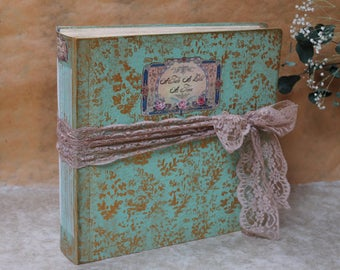 Mint and gold wedding album, traditional style wedding photo album for prints| Mint and pink wedding guest book | 12x12 ''