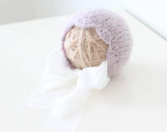 Newborn girl - Newborn props - Newborn hat- Baby girl props - Photo props - Baby photo prop - Newborn baby photo - Lavender - Baby girl