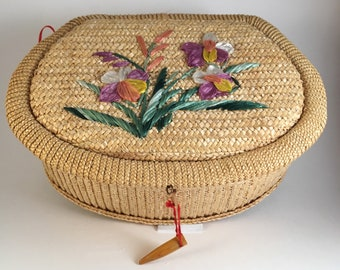Vintage Braided Raffia SEWING BASKET - Made in the People's Republic of China