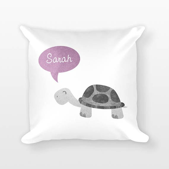 Personalized Pillow, Turtle Pillow, Custom Name Pillow, Birthday Gift for Friend, Kids Room Decor, Animal Pillow, Decorative Throw Pillow
