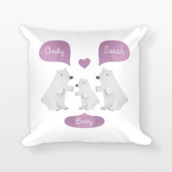 Polar Bear Nursery Pillow, Personalized Baby Gift, Baby Shower Gift, Nursery Decor, Pillow for Kids Room Decor, Animal Nursery Throw Pillow