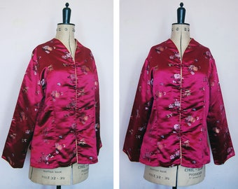 Vintage Chinese pink satin jacket - Chinese embroidered silk robe - Vintage Chinese silk jacket - Oriental Coat - Quilted silk jacket