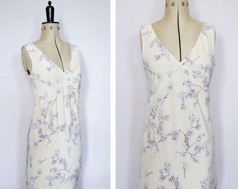 Vintage 1990s white silk bias cut dress - 90s floral dress - 90s silk dress - Bias cut dress - 90s summer dress - 90s dress - Occasion dress