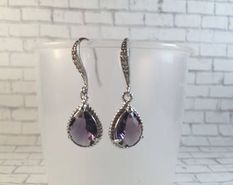 Valentines Day Jewelry Gift For Her Silver Purple Teardrop Earrings Gift for Mom Valentines Jewelry Gift Under 25 Love Earrings Friendship
