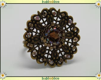 Japanese Amber Brown glass 25mm brass beads charm retro vintage adjustable flower ring