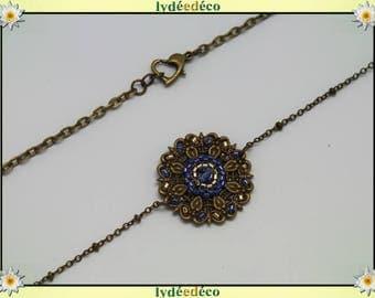 Vintage flower headband print and blue gold glass beads bronze