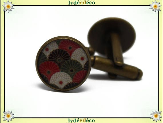 2 retro suit cuff links red white khaki green resin brass bronze 14mm