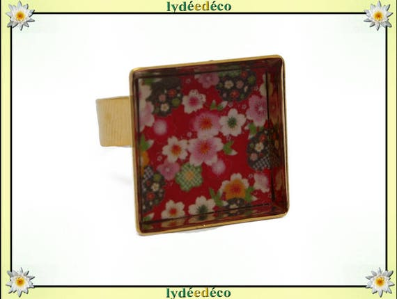 17mm adjustable rose ring SAKURA square Japan 24 carat 24 K gold plated brass cherry blossom resin red green white