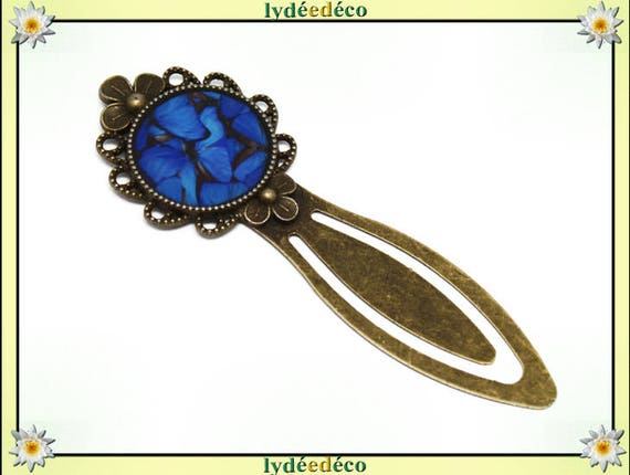 Bookmark retro Butterfly blue gray black resin and brass diameter 20mm