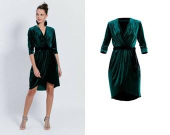 velvet dress - envelope dress - shiny dress -bottle green midi dress - vneck dress - elegant dress - party dress - velvet coctail dress
