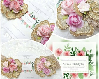 Baby Hairclips/aligator clips gold lace with  mulberry paper rose detail. Tones of Pink and gold Set of 2