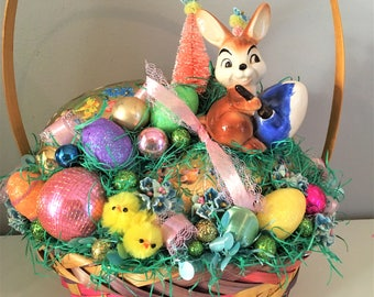 Vintage Easter Basket Decoration Goebel Bunny Germany Paper Mache Egg Arrangement Centerpiece