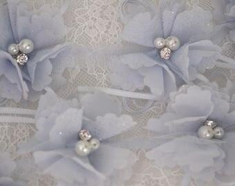 3D pink rosette trim,  lace applique, 3D bead lace applique with rosette, 3D flowers lace applique, bridal lace appliques, bridal headpiece