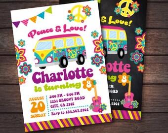Hippie Invitation, 60s Birthday Invitation, Groovy Invitation, Peace and love invitations, 2 options, DIGITAL