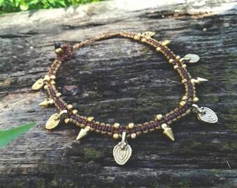 Gypsy tribal brown macrame bracelet. Boho earthy macrame anklets. Hippie jewerly handmade by Bella Marietta