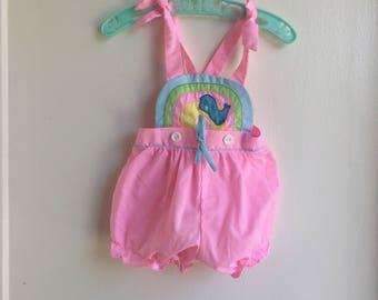 VTG Cotton Candy Baby Girl Rainbow Romper Bird Sz 3-6M