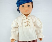 "Pirate Shirt for 18"" dolls.  Suede lace, metal grommets w/ snaps in the back. Boy doll costume shirt for medieval, colonial, highlander."