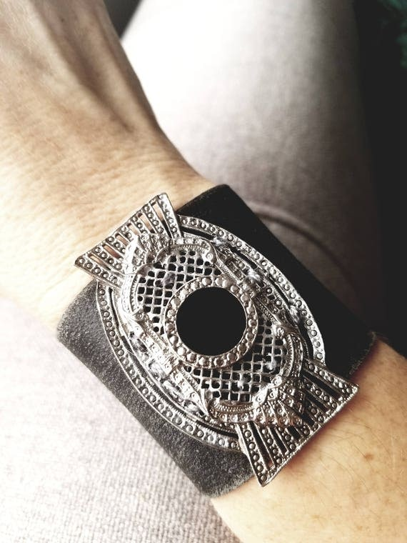 BOHO Leather and Vintage Marcasite Cuff