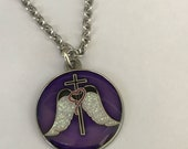 Cross White Glitter Angel Wings Charm Necklace Christian Jewelry for Women Religious Jewelry Chain Necklace Confirmation Baptism Gift