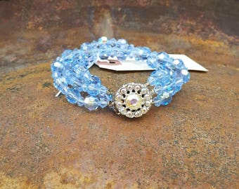 Vintage Blue Beaded Necklace