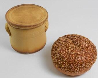 Yellow butter keeper - butter crock - pottery butter dish - French butter crock - butter saver S140