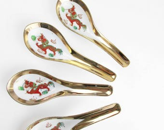 4 Vintage Chinese Soup/Duck Spoons - Chinese Red Dragon Spoons - Porcelain Spoons For Soup - Decorated in Hong Kong - Gold Gilt Edged Spoons