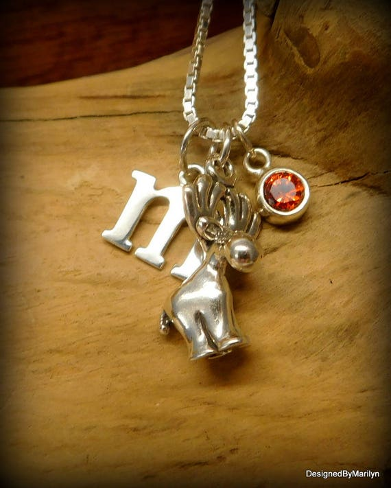 Sterling silver moose necklace, birthstone necklace, initial charm, personalized jewelry, wildlife necklace