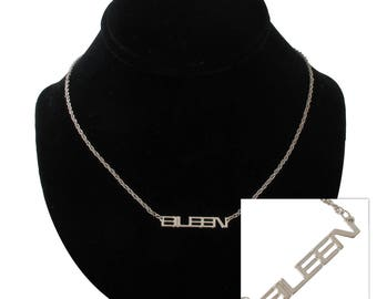 Eileen Silver Tone Name Pendant Necklace Jewelry Vintage 1970s