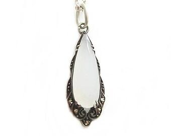 Jugenstil Chalcedon Marcasites Pendant Sterling Silver Necklace - Jugendstil Jewelry - Antique Pendant