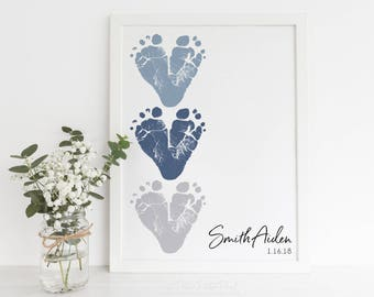 Gift for New Grandparents from Baby Footprint Hearts, Personalized with your Child's Feet, 8x10 or 11x14 Inches UNFRAMED