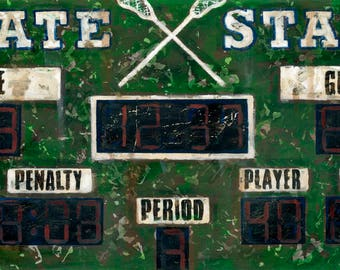 Vintage Lacrosse Scoreboard Sports Art Canvas- by Aaron Christensen.  Perfect for boys rooms, man caves and lacrosse interior decor spaces.