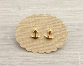 Tiny Anchor Post Earrings, Dainty Earring, Gold Studs, Nautical, Tiny studs
