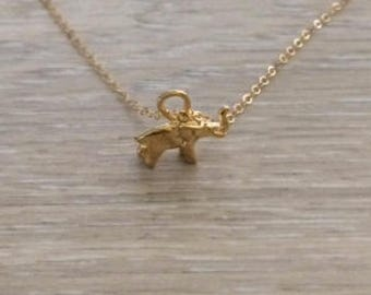 14k Gold Filled Necklace, Elephant Necklace, Gold Necklace, Layer Necklace