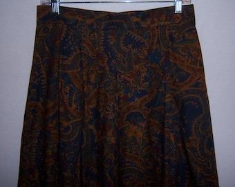 Vintage Alexander Campbell Navy Blue Paisley Print Wool Blend Maxi Skirt 10 12 Medium Deadstock NWT NOS Challis