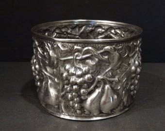 Vintage Silver Plated Wine Coaster / Holder / EL De Uberti Repousse Silver Plate