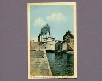 Vintage Colourised Postcard of the SS Keewatin Leaving the Locks at Sault Ste Marie Ontario Canada