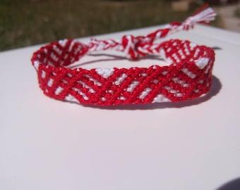 Friendship Bracelet, Macrame, Woven Bracelet, Wristband, Knotted Bracelet  - Red White Bracelet