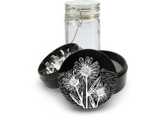 Wild Flowers Laser Engraved Grinder Plus FREE Glass Jar included! 4 Piece Premium Black CNC Herb Grinder  L0286