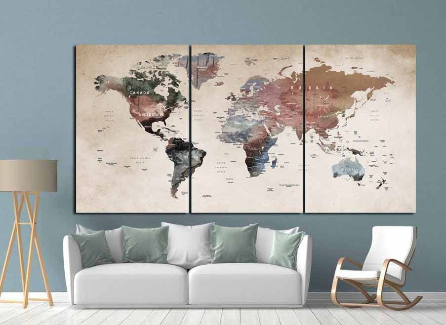 world map wall artworld map canvasworld map printlarge world mapvintage world mapabstract world maptravel mappush pin map artdecal