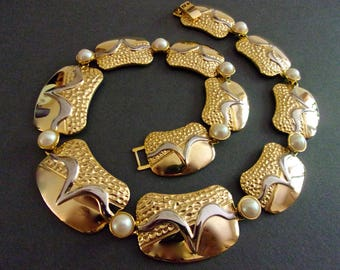 Two Tone Gold Plated Pearl Necklace, Textured Shiny Panels, Vintage