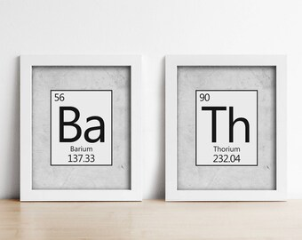 Bathroom PRINTABLE Art Prints - Periodic Table - Set Of Two - Bath - Light Grey - Housewarming Gift - Science - Medical Student Gift
