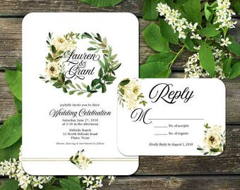 Greenery Wreath Wedding Invitation Suite; Invitation, Reply, Leaves, Garden, Floral, Vintage