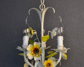 Small painted toleware flower chandelier