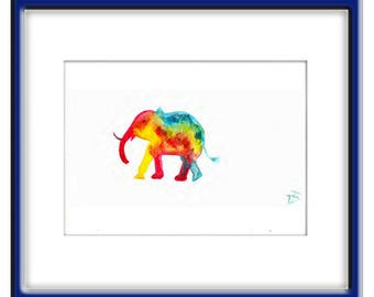 ORIGINAL Watercolor  Painting  Abstract   Contemporary  Art   Modern Elephant Animal by Tanja Bell