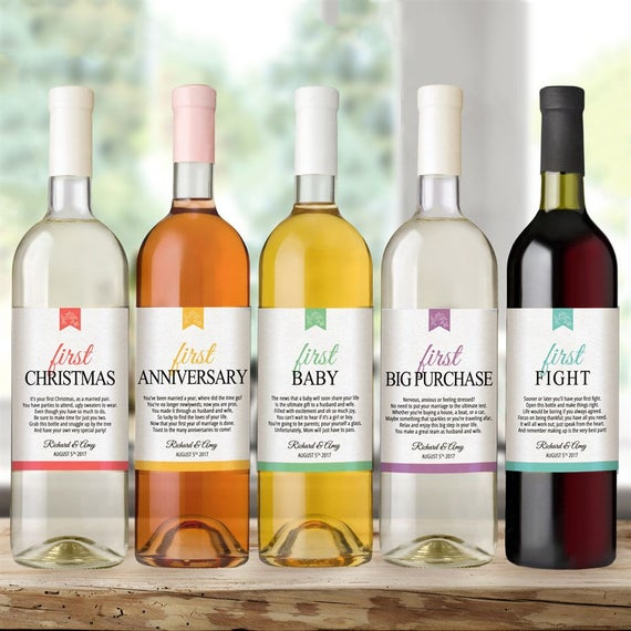Personalized Waterproof Wedding Wine Bottle Labels For Wedding
