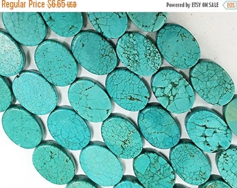 """25% OFF Turquoise Beads Oval 18mm , Turquoise Magnasite, 16"""" Strand,22 beads, Gemstone Flat Beads -SMAG151"""
