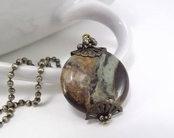 SUMMER SALE Antique Brass Necklace - Large Snakeskin Jasper Bead Pendant